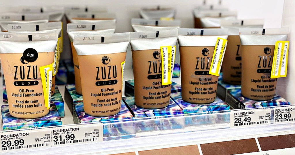 Zuzu Luxe Oil-Free Liquid Foundation on shelf at Target with clearance labels