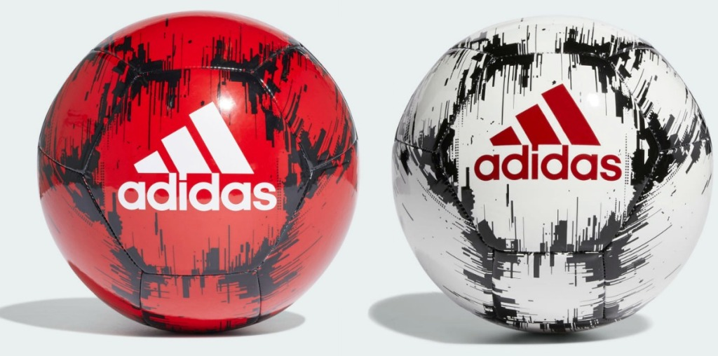 Two styles of men's soccer balls - in white and red