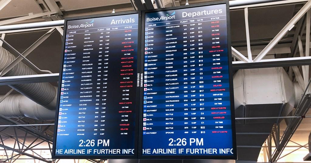 flight departure screen at airport