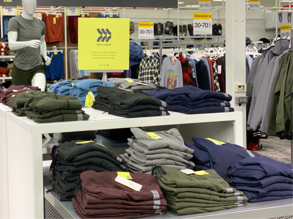 all in motion mens sweatpants on display in store
