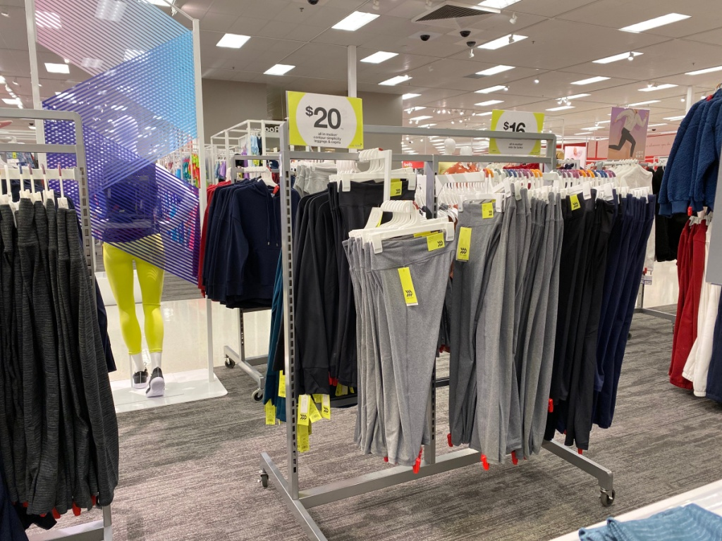 all in motion gray leggings hanging in sore with $20 price sign
