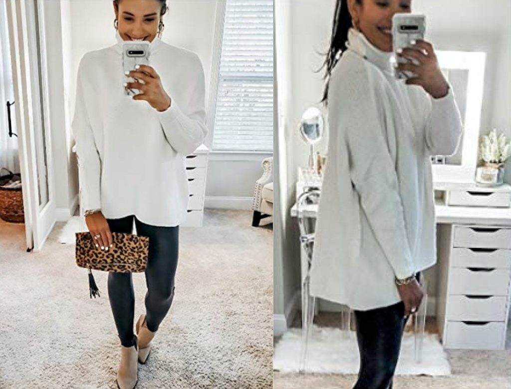 two photos of a woman wearing white sweater with black leggings taking selfie