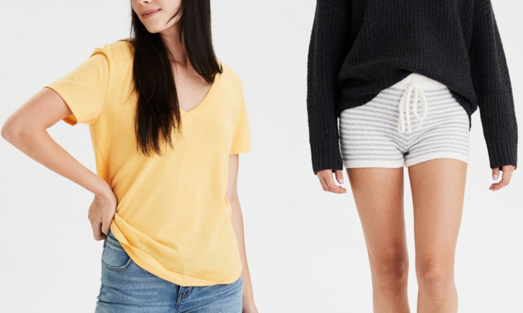 woman modeling yellow tshirt and striped shorts