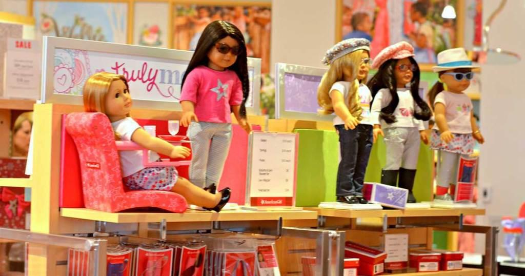 american girl dolls on display