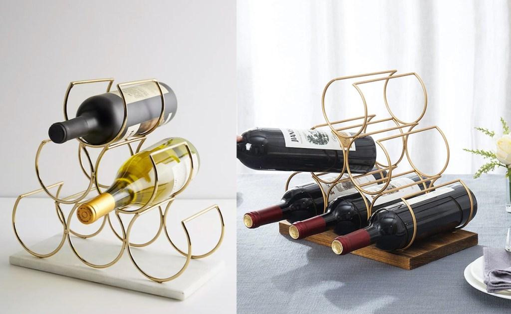 side by side brass wine racks - anthropologie dupes