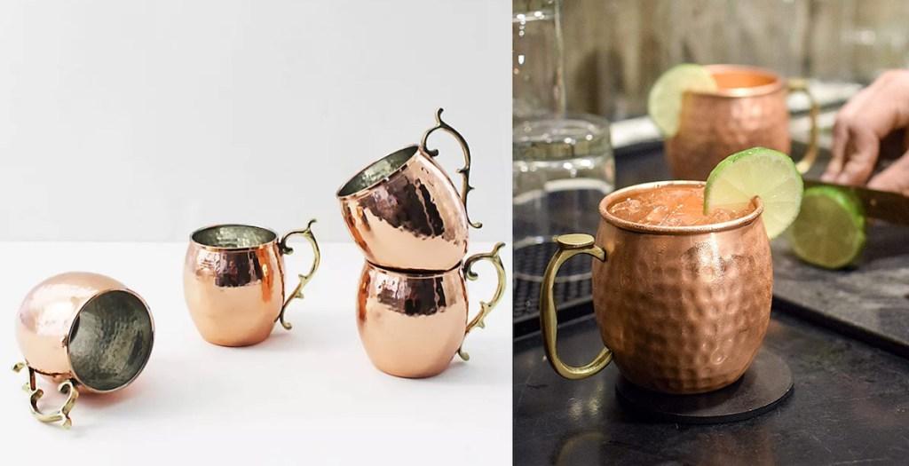 side by side of copper mugs