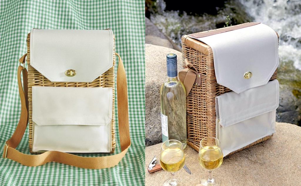 side by side comparison of canvas and wicker picnic baskets