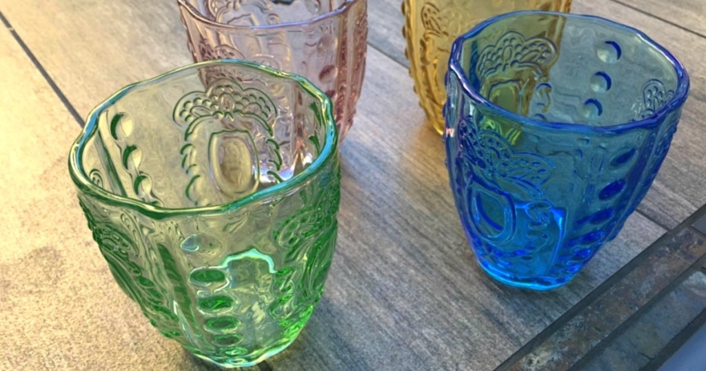 Anthropologie inspired colorful glasses on table