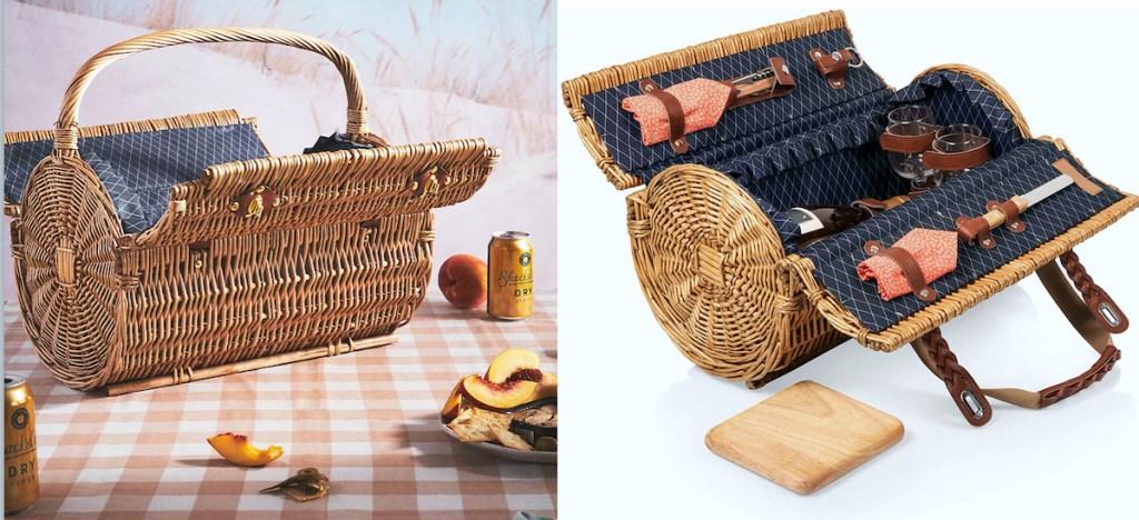 round shaped wicker picnic baskets