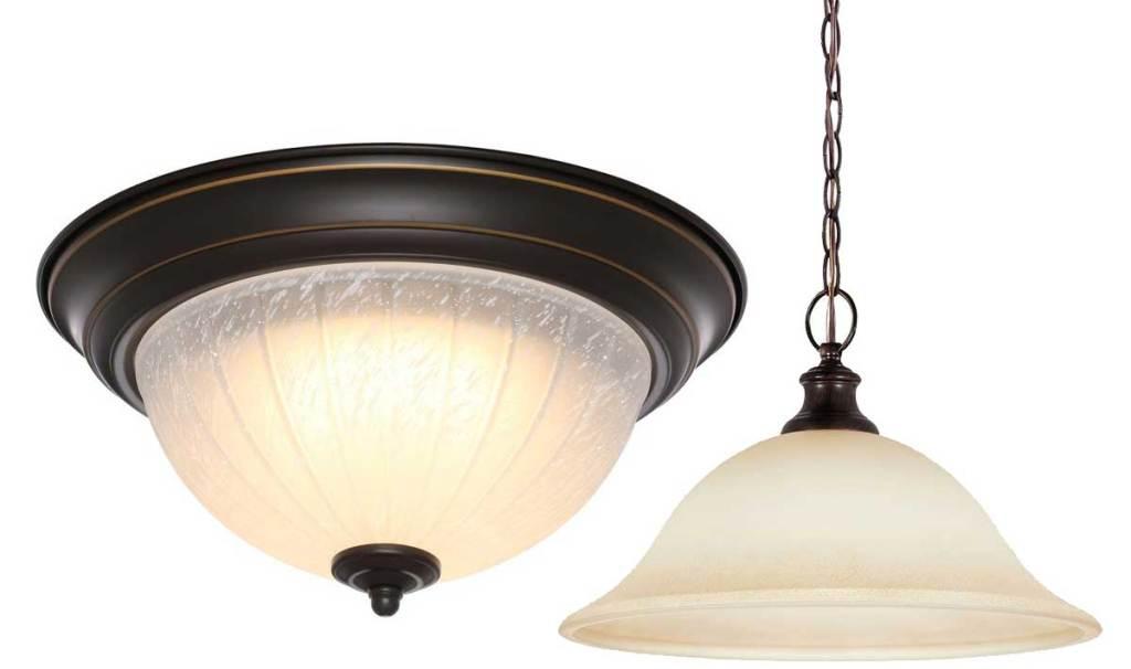 stock image of Progressive Lightning Antique Bronze Integrated LED Flush Mount and pendant light