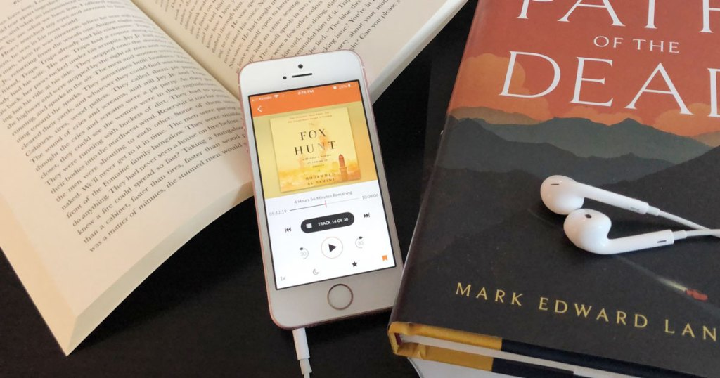 phone with audiobook playing