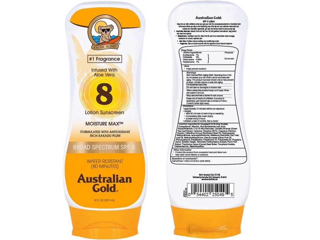 stock image of Australian Gold SPF 8 Sunscreen Lotion
