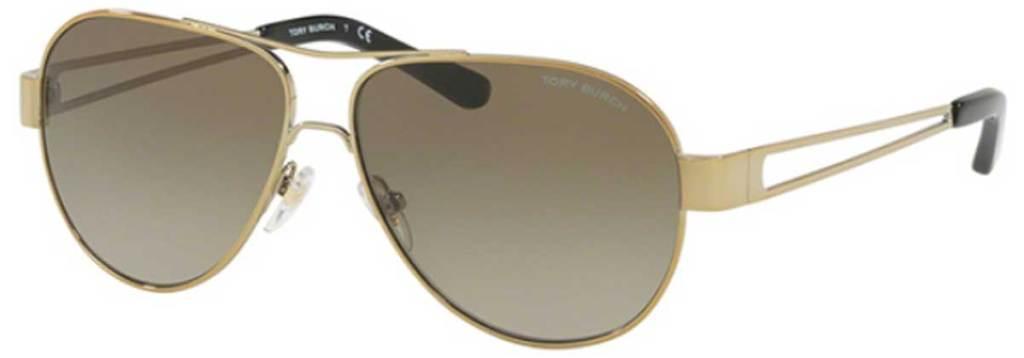 Tory Burch Gold-Tone Aviator Sunglasses stock image