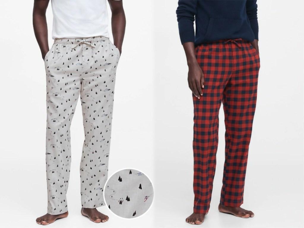 men wearing tree pajama pants and red and blue pajama pants