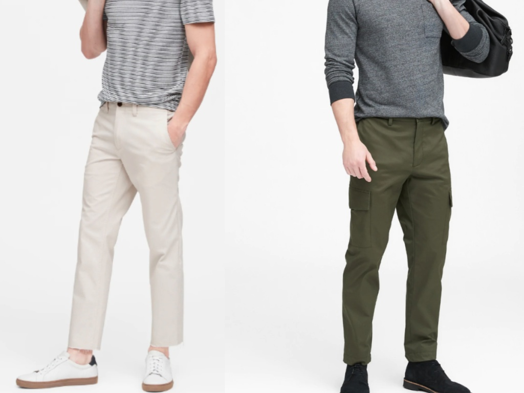 men wearing tan and green ankle pants