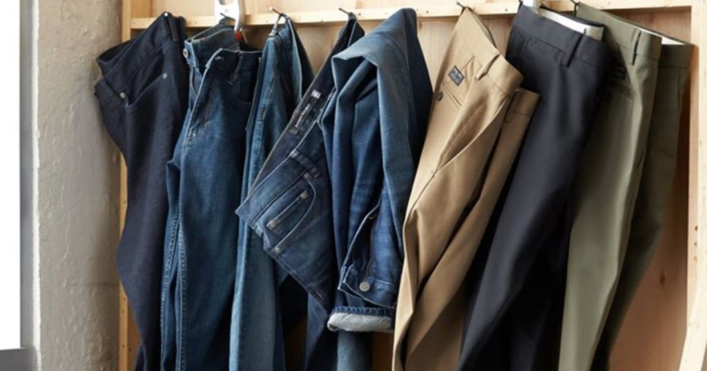banana republic mens jeans and pants hanging on hooks