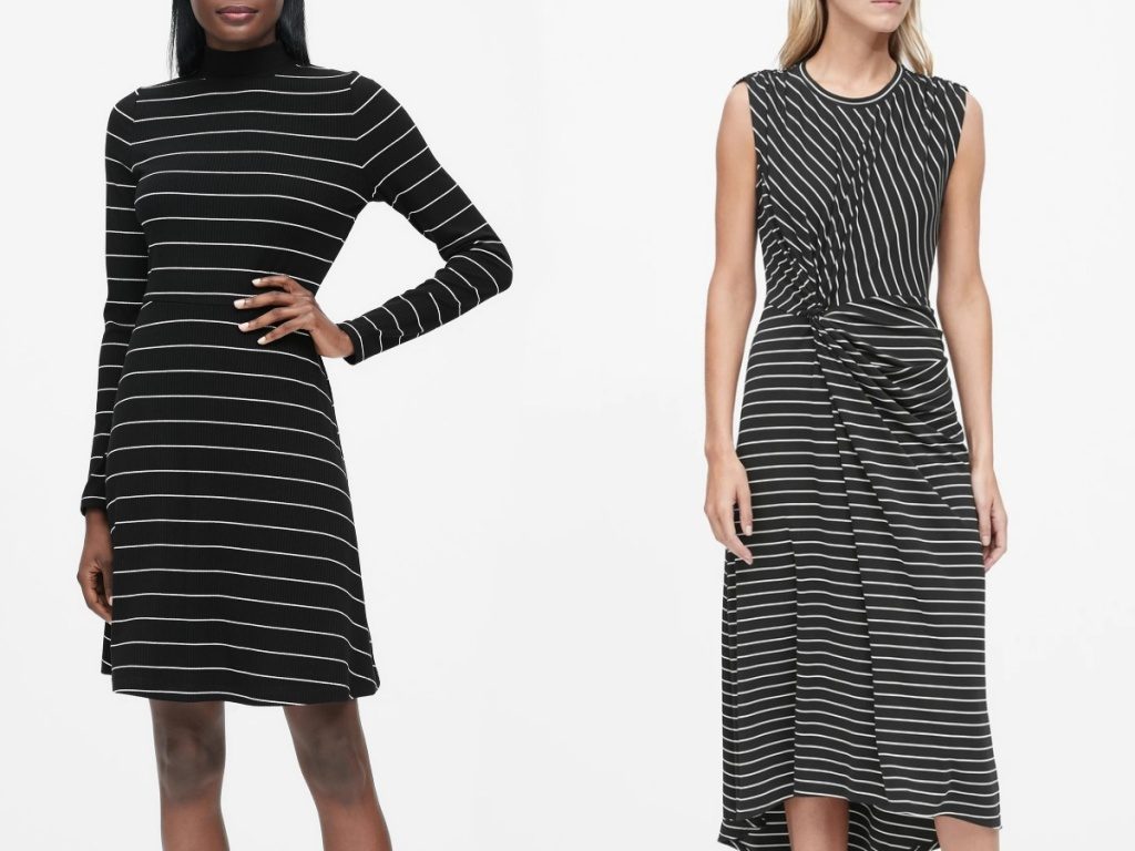 women wearing black and white striped dresses