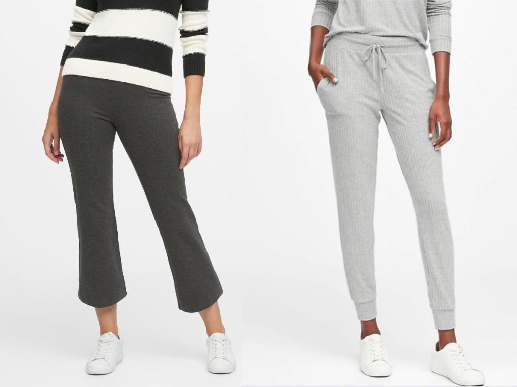 women wearing dark grey ankle pants and light grey long sweats