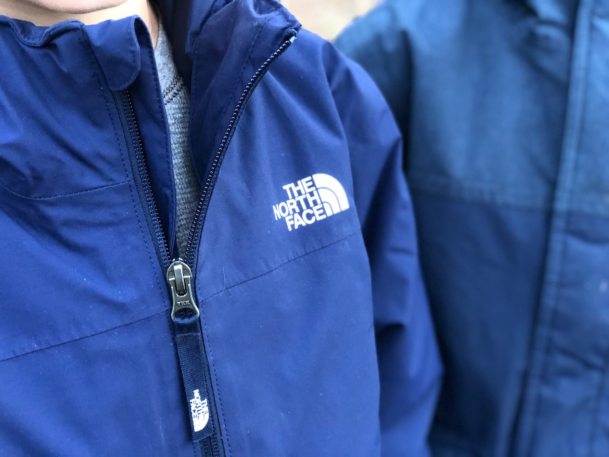 kids wearing blue the north face jackets