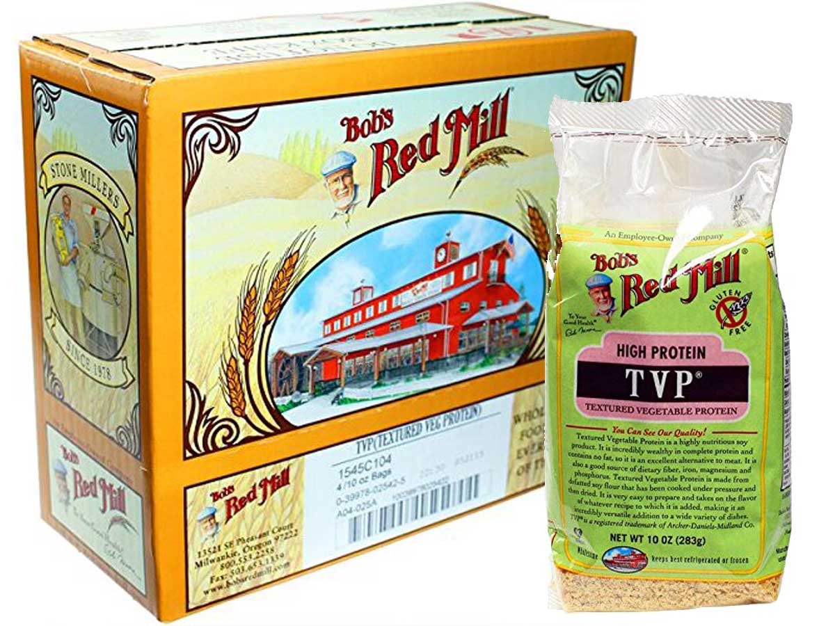 Bob's Red Mill High Protein Textured Vegetable Protein box and single bag