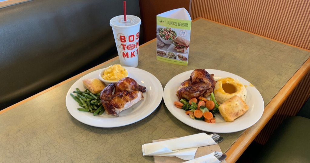 Boston Market meals and drinks at table