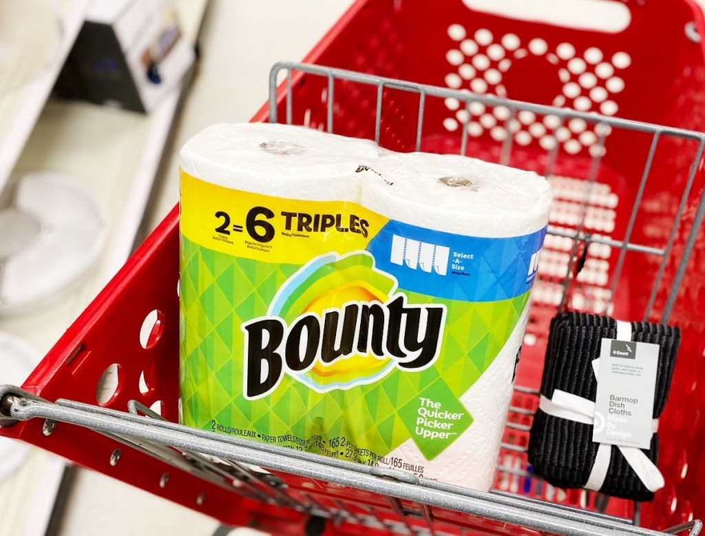 Bounty paper towels in package in red target cart