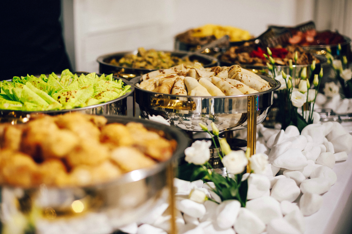 buffet table with food