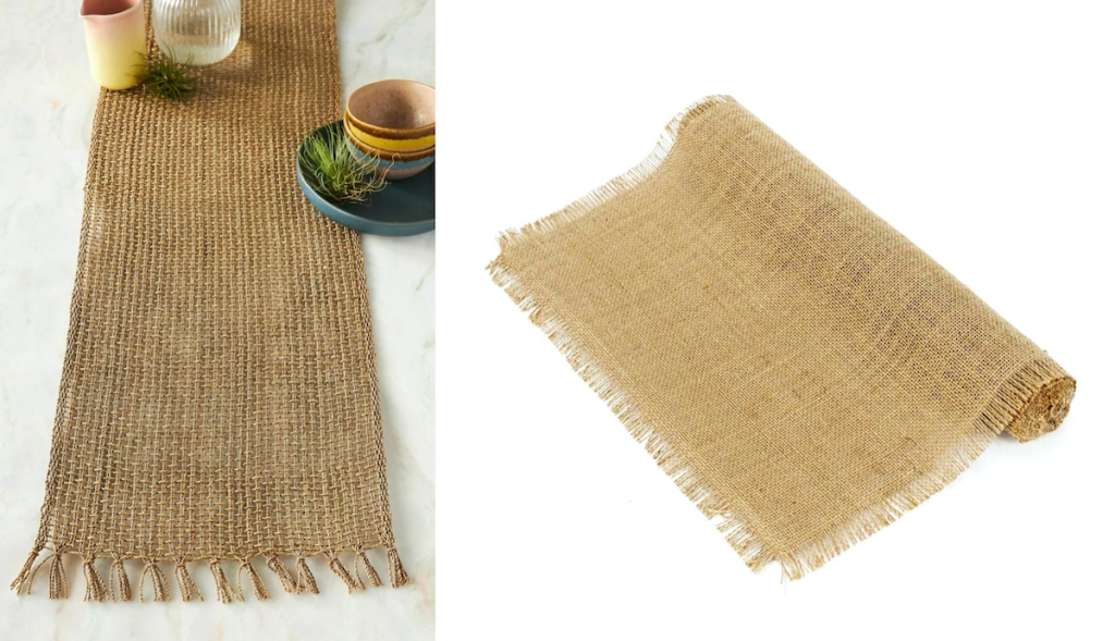 brown burlap table runners with white background