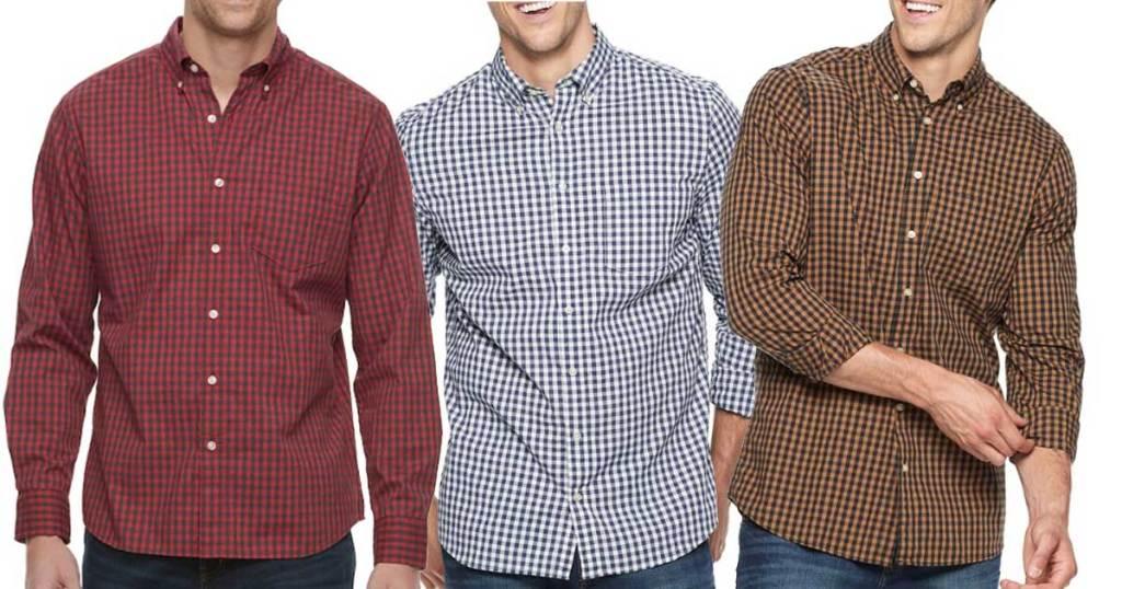 male models wearing Big & Tall Sonoma Flexwear Slim-Fit Poplin Button-Down Shirts