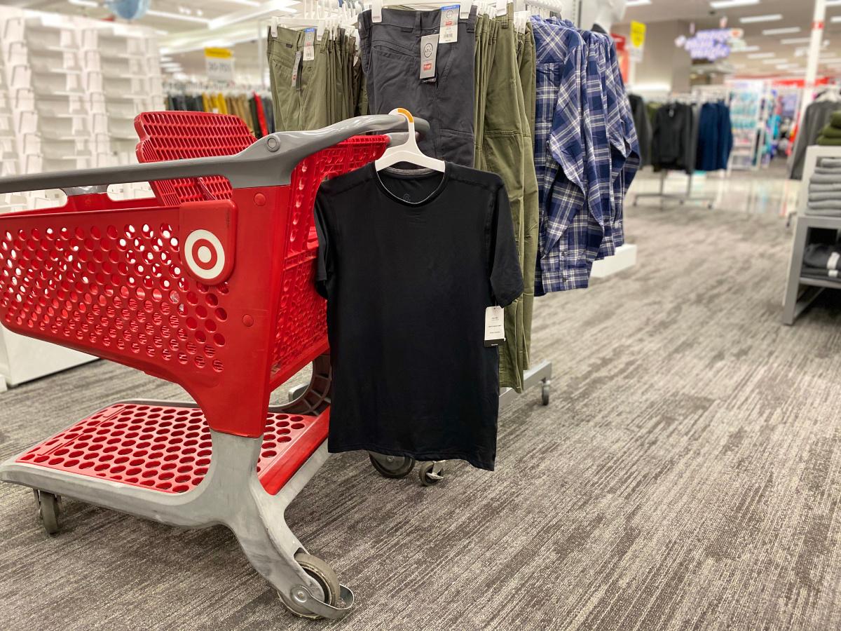 black shirt hanging on target shopping cart in target