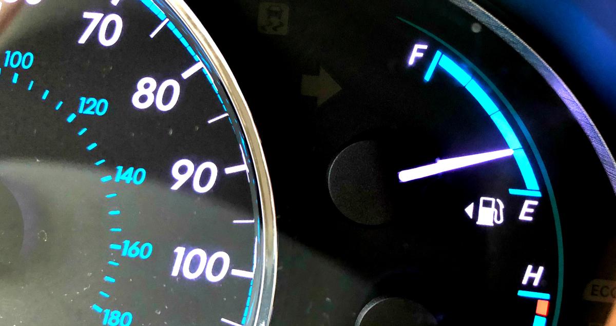 Gas gauge on car dashboard