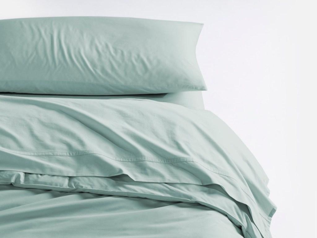 mint sheet set and pillowcase
