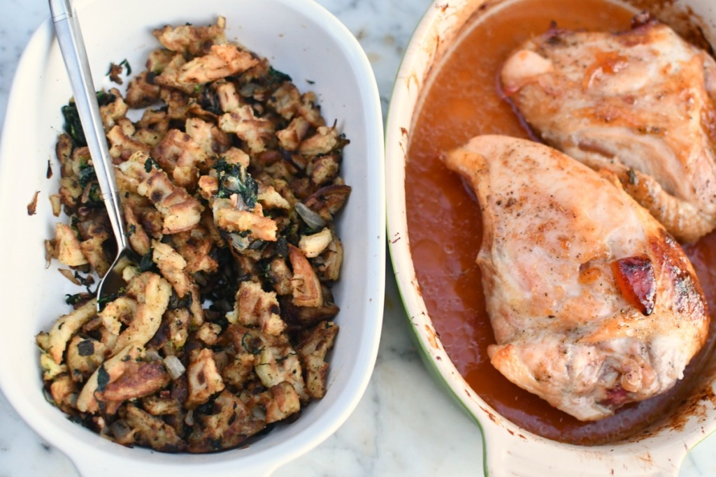 chicken and stuffing from the oprah show in casserole dishes