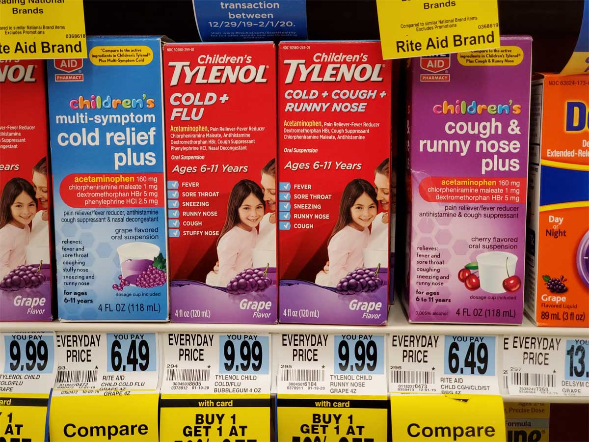 children's tylenol cold and flu on a shelf in store