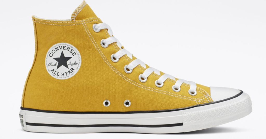 yellow converse all star high tops