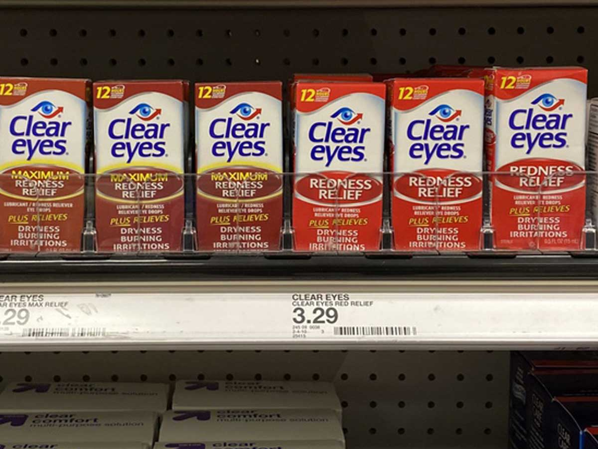 clear eyes drops on a shelf in a store