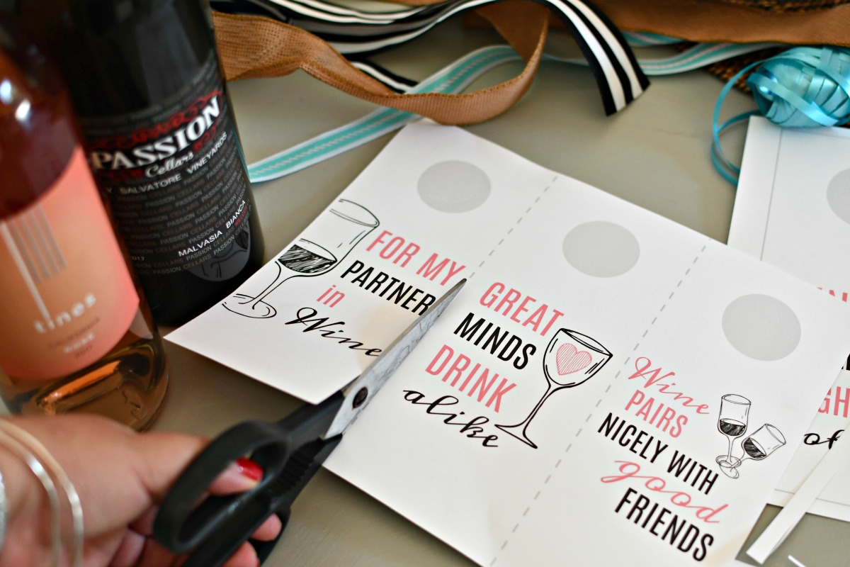 cutting printable wine gift tags