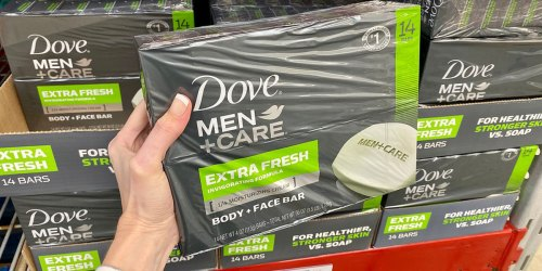 Dove Men+Care Body & Face Bar 14-Count Only $9.48 Shipped on Amazon | Just 68¢ Per Bar!
