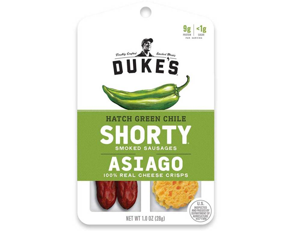 stock image of 12-count Dukes Shorty & Asiago Cheese Hatch Green Chile Snacks