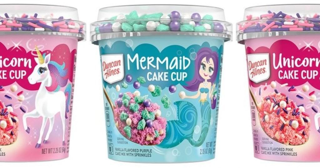 Mermaid cake cup between 2 unicorn cake cups