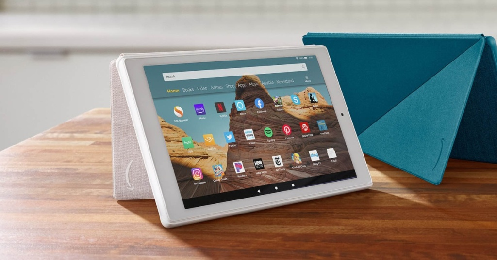Amazon Fire Tablets in white and blue