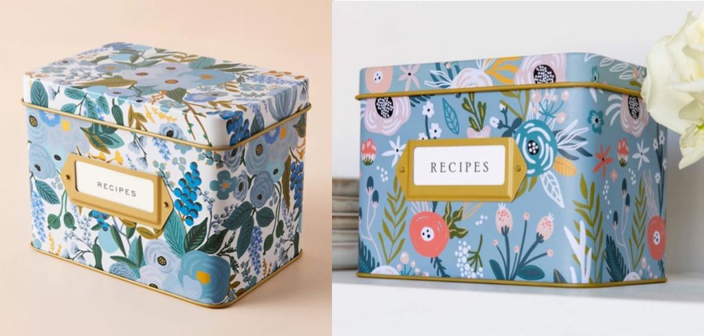 side by side comparison of floral tin recipe boxes anthropologie dupes