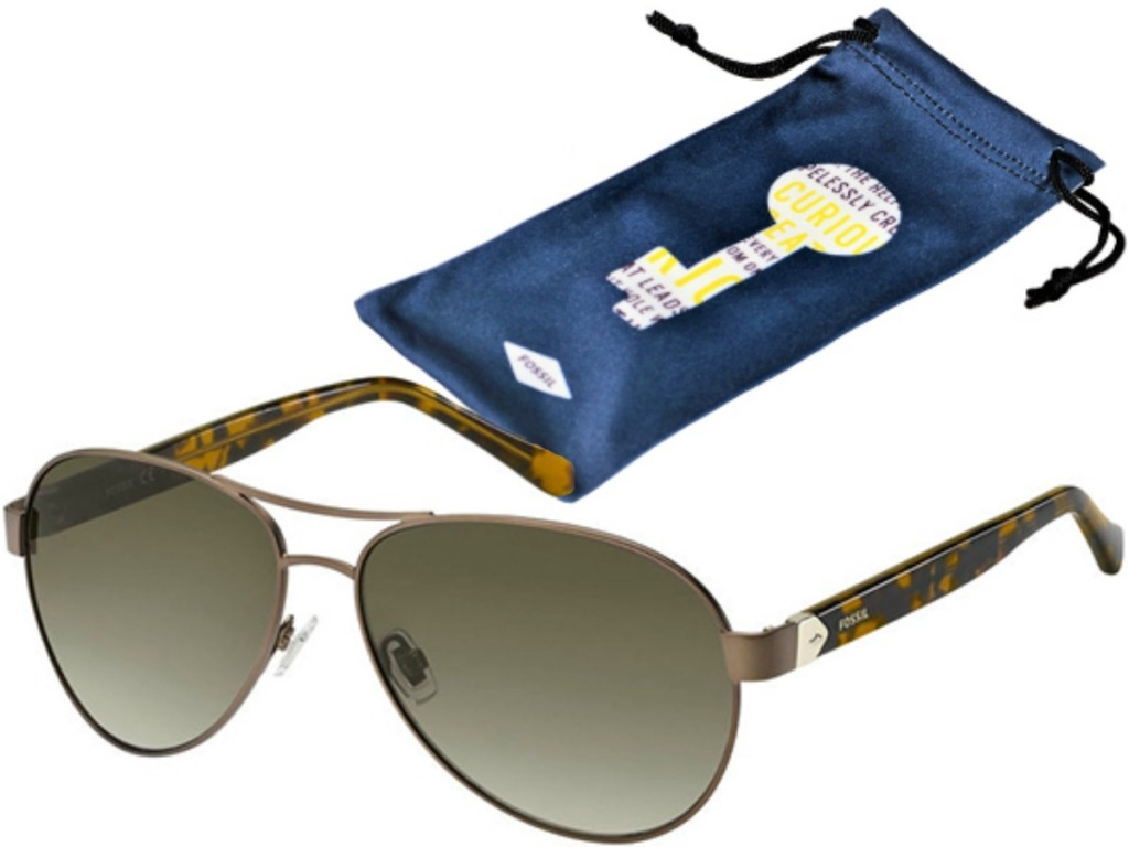 pair of sunglasses and blue soft case