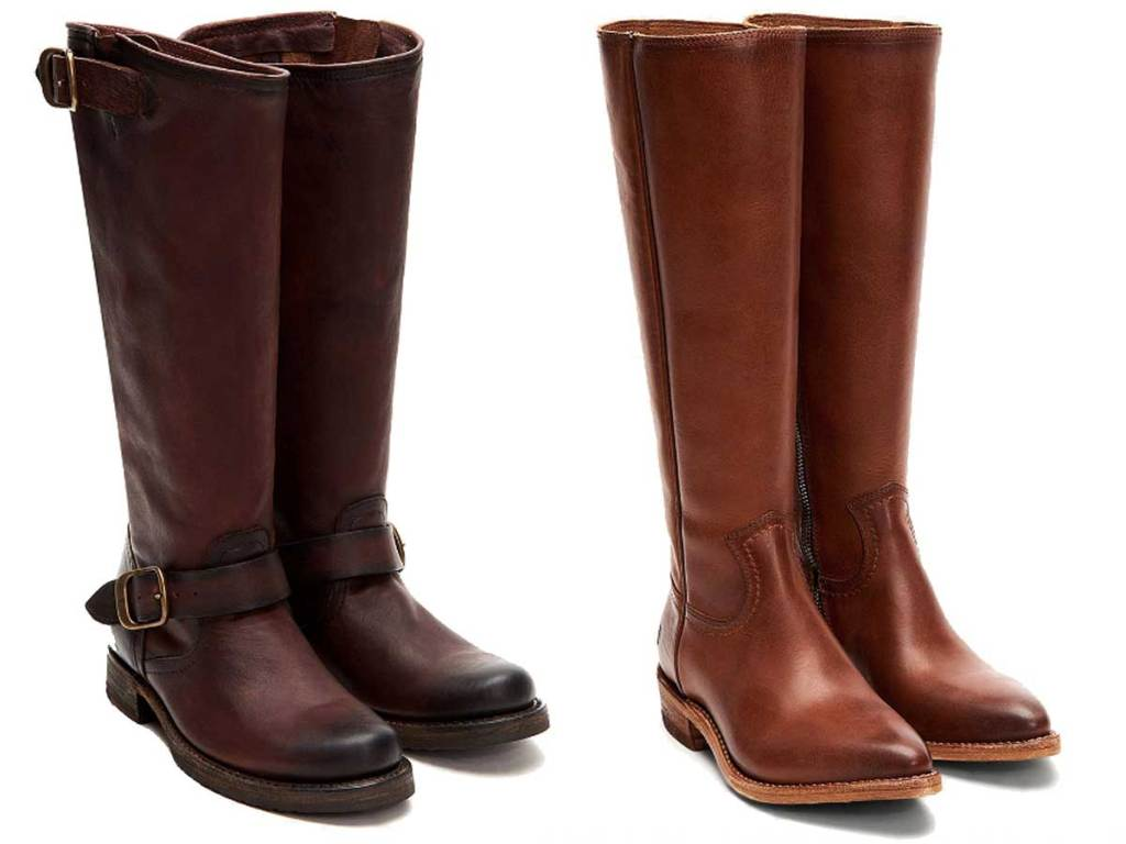 women's frye leather tall boots two pairs stock image