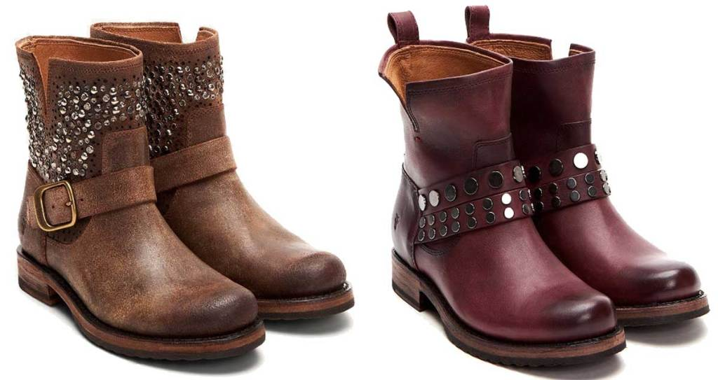 women's frye leather bootie two pairs stock images