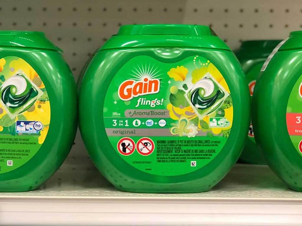 Gain Flings Liquid Laundry Detergent Original Scent container on a shelf in a store
