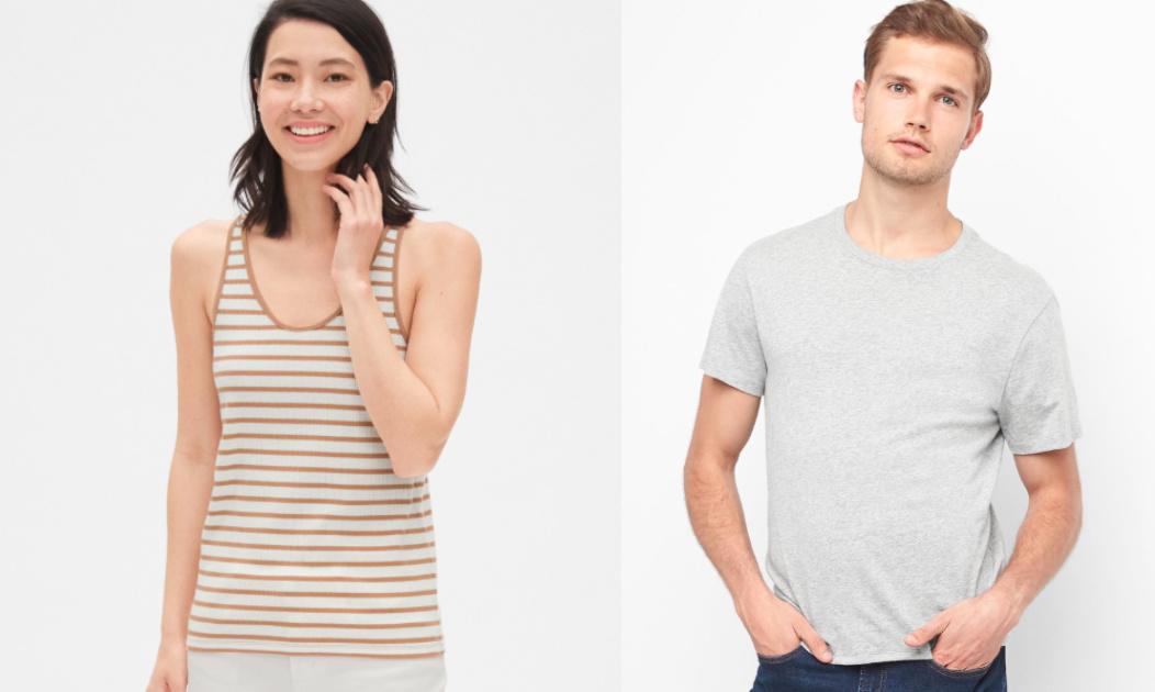 womens gap striped tank top and mens gray tshirt