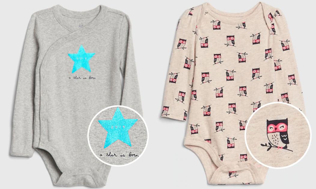 gap baby star is born onesie and owl onesie