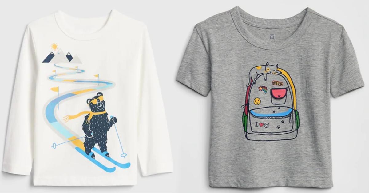 gap long sleeve bear shirt and short sleeve graphic tee
