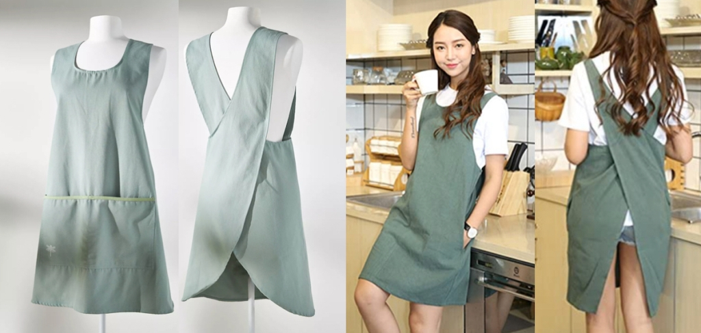 side by side of blue sage green apron